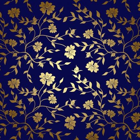 背景の青および金の花テクスチャ