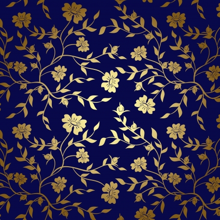 design floral: blue and gold floral texture for background