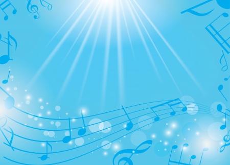 青色の音楽背景ノートと光線に - ベクトル