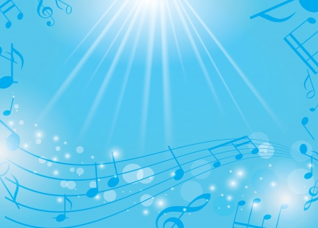 musical notes background: blue musical background with notes and rays - vector