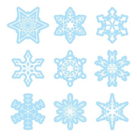 snowflake set: blue and white snowflakes - vector set Illustration