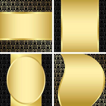 horizontal lines: golden and black decorative cards - set - vector