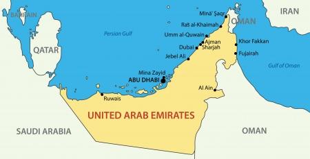 Verenigde Arabische Emiraten: Verenigde Arabische Emiraten - vector kaart Stock Illustratie