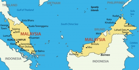 borneo: Malaysia - vector map
