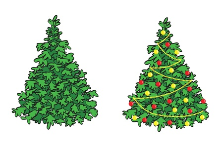 winterly: green fir-tree and fir with decorations - vector