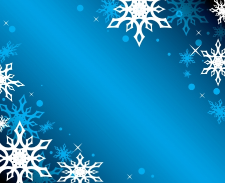 winterly: vector blue background with white snowflakes