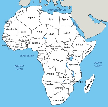 africa map: Africa - vector map Illustration