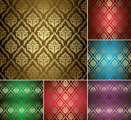 set - beautiful vintage patterns with gold ornament Stock Vector - 16927525