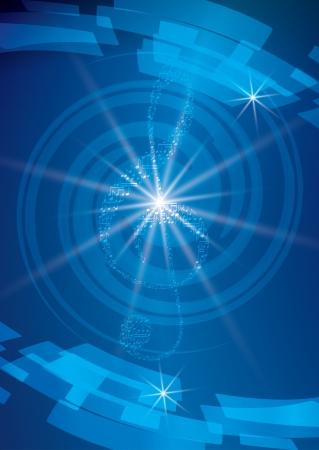 astratto blu sfondo musicale con chiave di violino e raggi - volantino