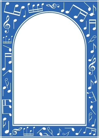 archway:  blue music arch frame with white center Illustration