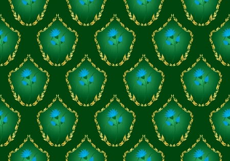green floral  background with blue flowers Vector