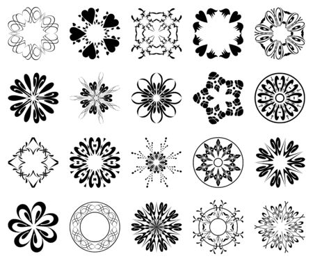 set of black round design elements Vector