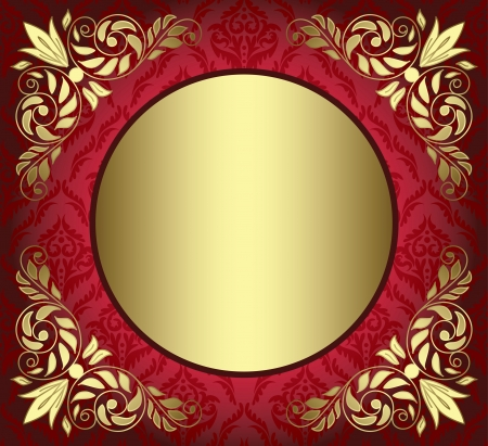 round corner: red card with golden decor in the corners