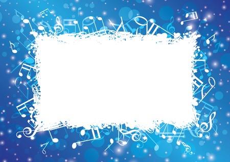 ノートとボケ味を持つ青の抽象的な音楽的な背景