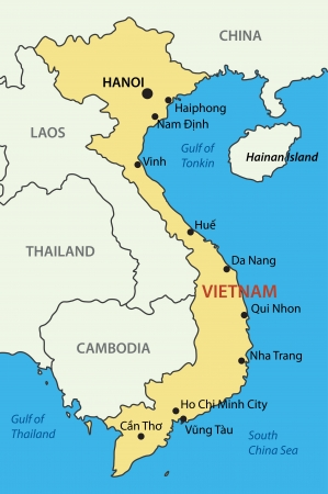 south of the border: Socialist Republic of Vietnam - vector map