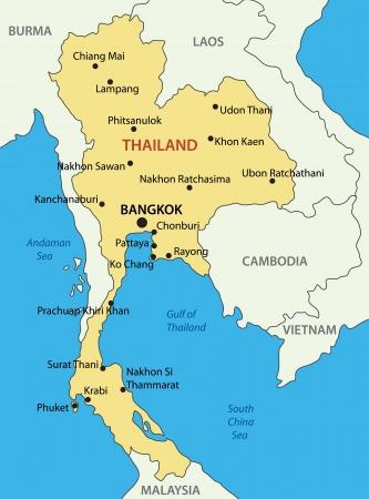 タイ王国 - ベクトル マップ