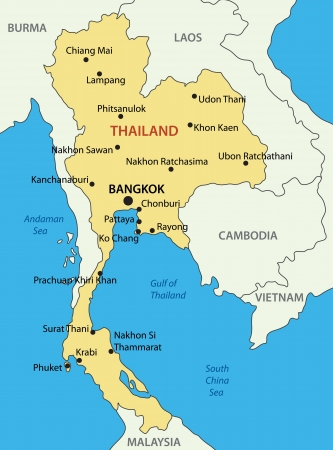southeast asia:  Kingdom of Thailand - vector map