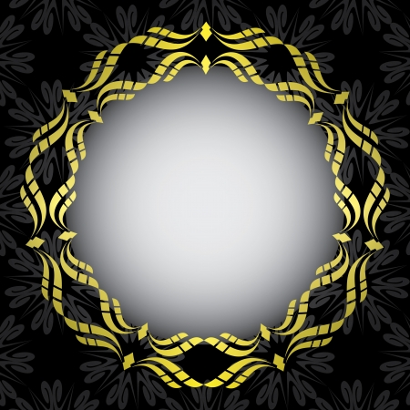 black card with golden frame in the center - vector Stock Vector - 18099957