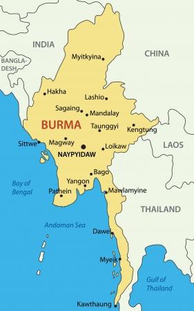 birma: Birma - kaart