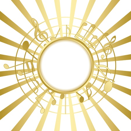yellow note: gold music card with rays - vector