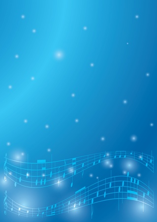 blue flyer with musical notes - vector Иллюстрация