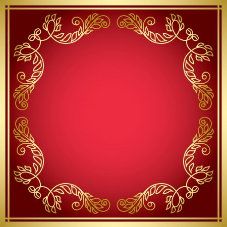 red vector card with golden frame Stock Vector - 18139432
