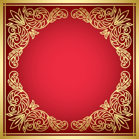 decorative red card with golden frame  - vector Vector