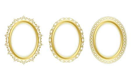 oval: golden oval frames. Oval shadow is transparent. Illustration
