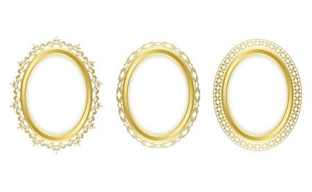 óvalo: marcos ovalados de oro. Oval sombra es transparente.