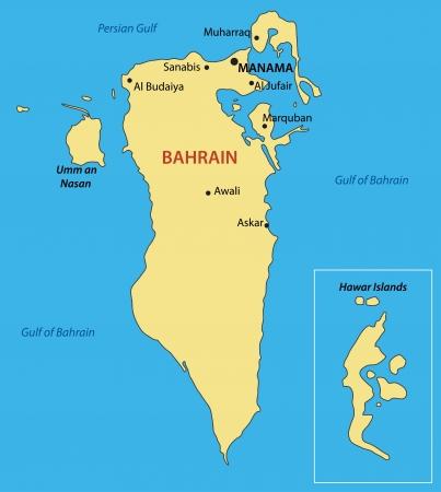island state: Kingdom of Bahrain - vector map