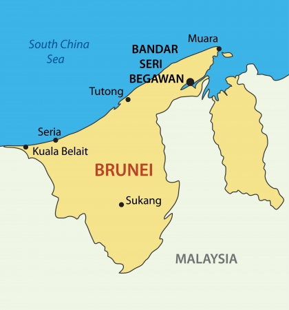brunei darussalam: Nation of Brunei, the Abode of Peace - vector map