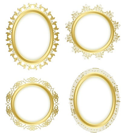 golden decorative frames - set  Oval shadow is transparent  Vector