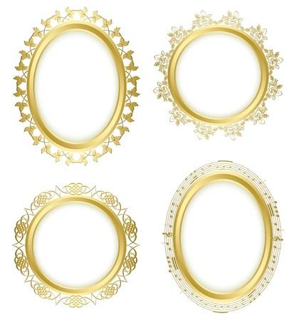 marcos decorativos de oro - vector set. Oval sombra es transparente.