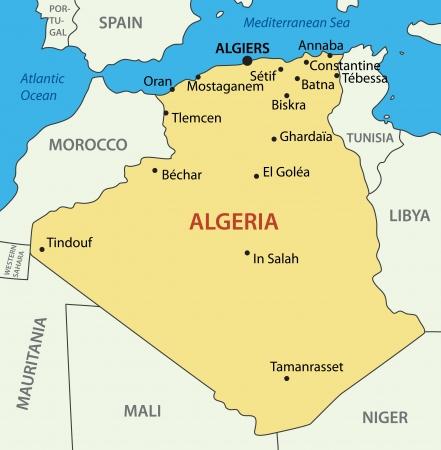 algeria: The Peoples Democratic Republic of Algeria -  map