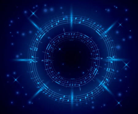 music notation: abstract dark blue music background with notes Illustration