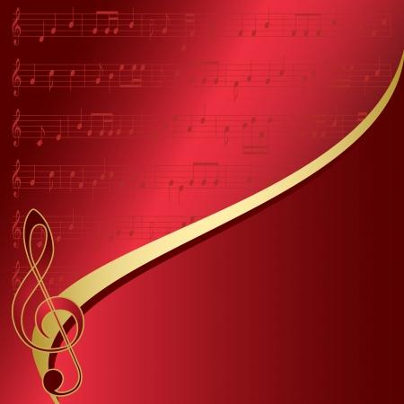 fondo rojo con notas musicales Ilustración de vector