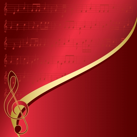 incarnadine: red background with musical notes Illustration