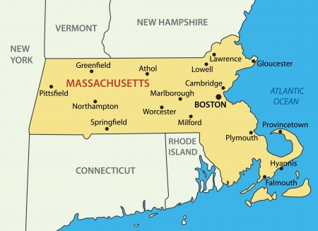 england map: Commonwealth of Massachusetts - vector map Illustration