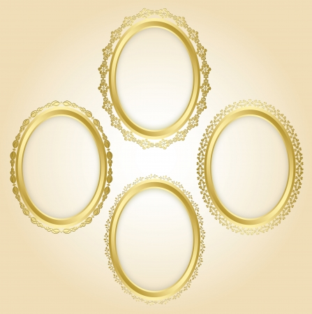 beautiful gold oval frames - Oval shadow is transparent. Vector