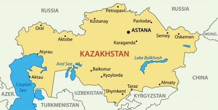Kazakhstan Political Map With Capital Astana National Borders - Largest landlocked country