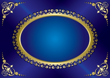 bleu élégant carte vintage avec cadre en or