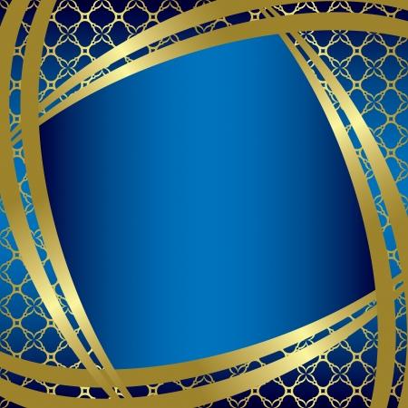 golden frames: vector golden frame with blue background