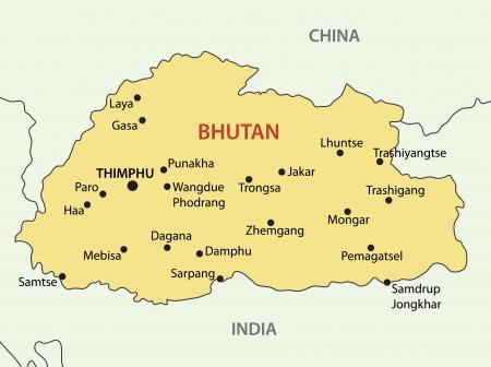 bhutan: Kingdom of Bhutan - vector map Illustration