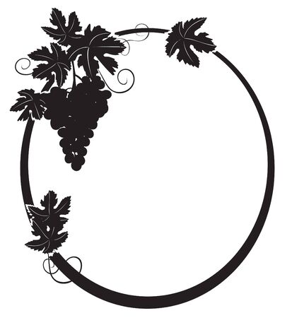 black grape: black silhouette - vector oval frame with grape