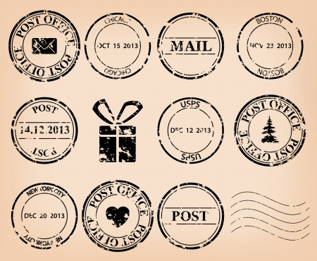 post:  Illustration set - black grungy post stamps