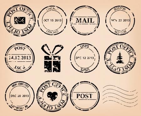 Zestaw ilustracji - czarne grungy znaczki pocztowe