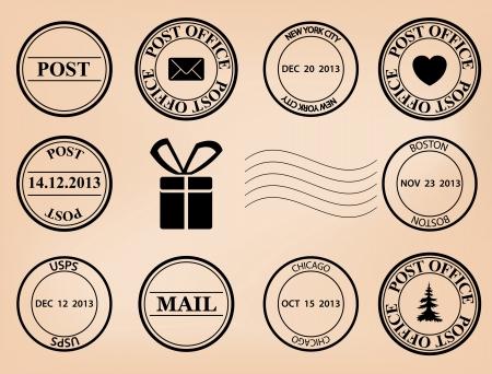 set - vector de sellos del poste Eps 8 Ilustración de vector