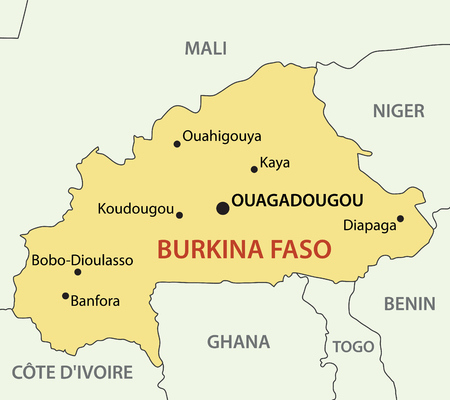 Burkina Faso Country With Its Capital Ouagadougou In Africa Hand