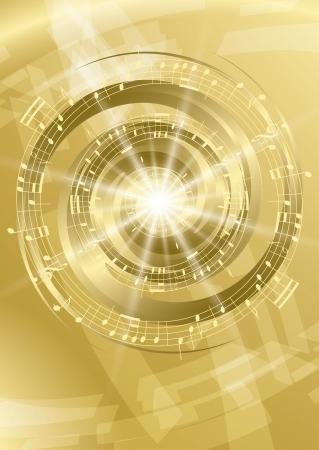ゴールドの抽象的な音楽の背景  イラスト・ベクター素材