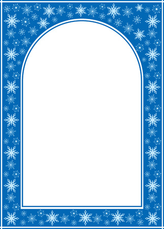 vertical image: blue christmas arcuate frame with white center - vector